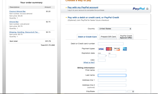 New! Paypal Credit Card Payments!